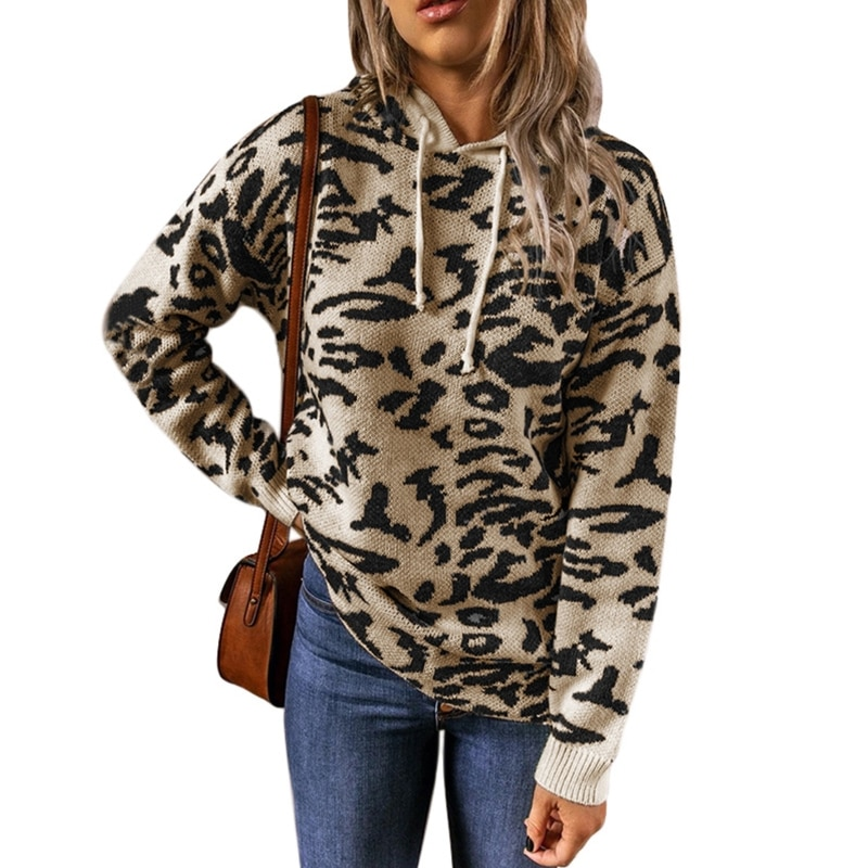 Women Long Sleeve Knitted Hoodies Leopard Printed Loose Drawstring Sweater Tops