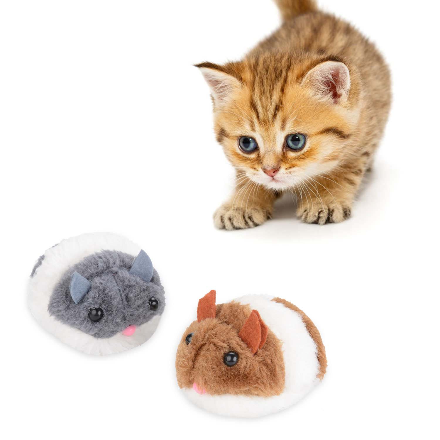 2021 Kapmore Funny Creative Cat Toys Bite-Resistant Mice Shape Vibrating Moving Cat Interactive Toy Cat Chew Toys Pet Supplies