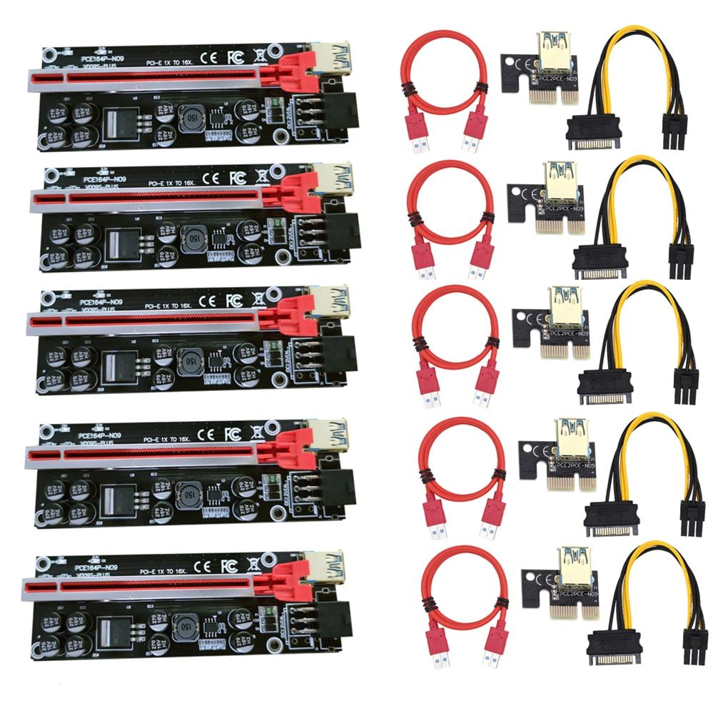 5 قطعة VER009 USB3.0 PCI-E الناهض VER 009S زائد اكسبرس 1X 4x8x 16x موسع pcie الناهض محول بطاقة SATA 15pin إلى 6pin الطاقة