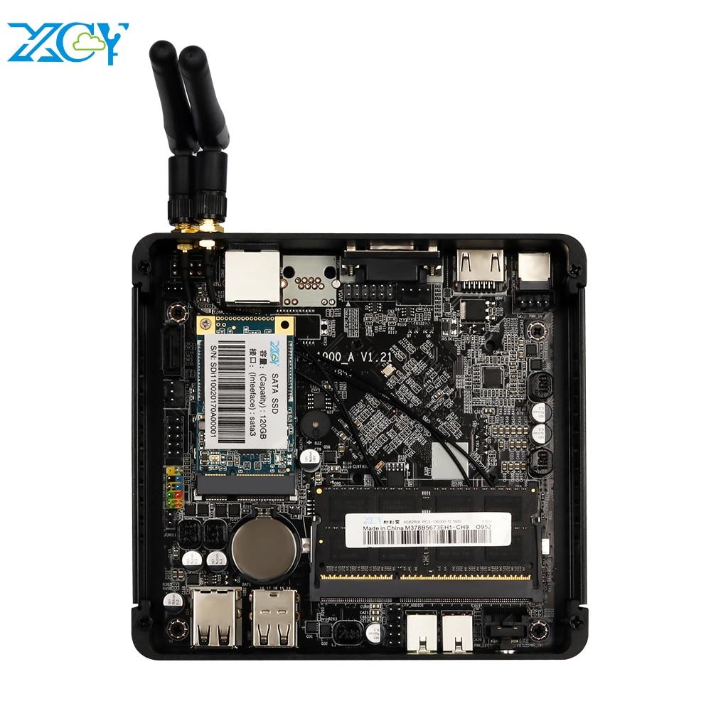 XCY Mini PC Intel Celeron J1900 Quad Core Linux Windows 10 Gigabit Ethernet WiFi HDMI VGA 4 * USB Industrial Micro PC