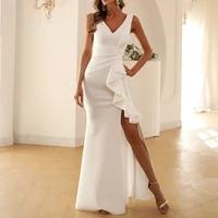 2021 new womens sleeveless ruffled evening dress skirt banquet temperament solid color fishtail skirt