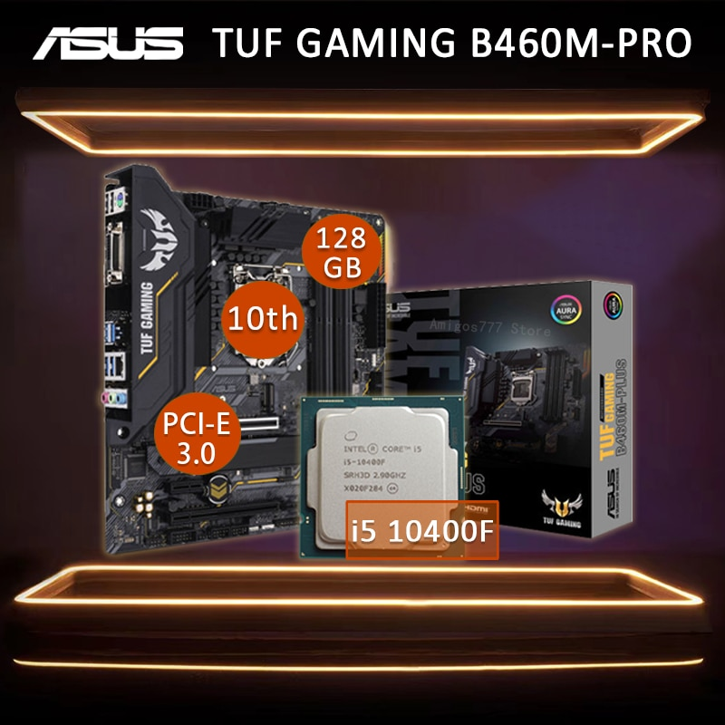 Review Asus TUF GAMING B460M-PRO Motherboard With Intel Core i5 10400F Motherboard Combo LGA 1200 DDR4 Overlockin Gaming Placa-Mãe New