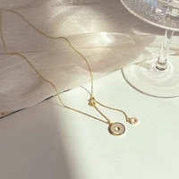 women jewelry circular pendant necklace 2021 new design high quality shiny crystal hot selling chain necklace for party gifts