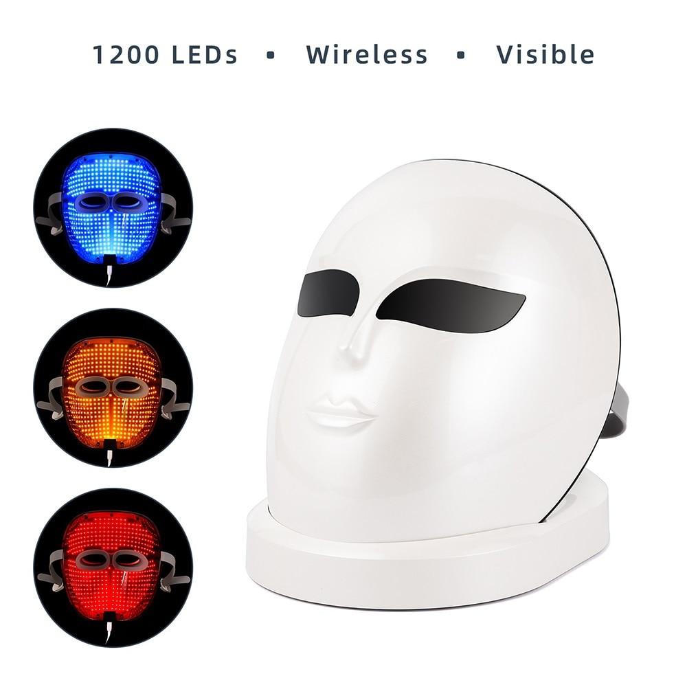 1200 LED أضواء قابلة للشحن 3 ألوان فوتون علاج للوجه قناع تجديد الجلد المضادة للتجاعيد مكافحة حب الشباب اللاسلكية قناع الوجه
