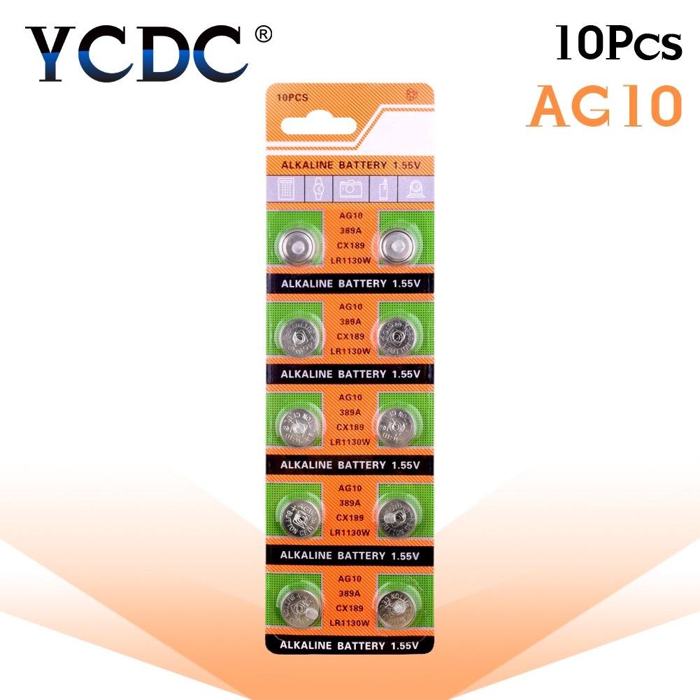 Bateria alcalina sr54 1.55 389 da moeda da pilha das baterias 189 lr54 do botão de ycdc 10 pces 389 v ag10 lr1130 189 sr1130 para computadores do relógio