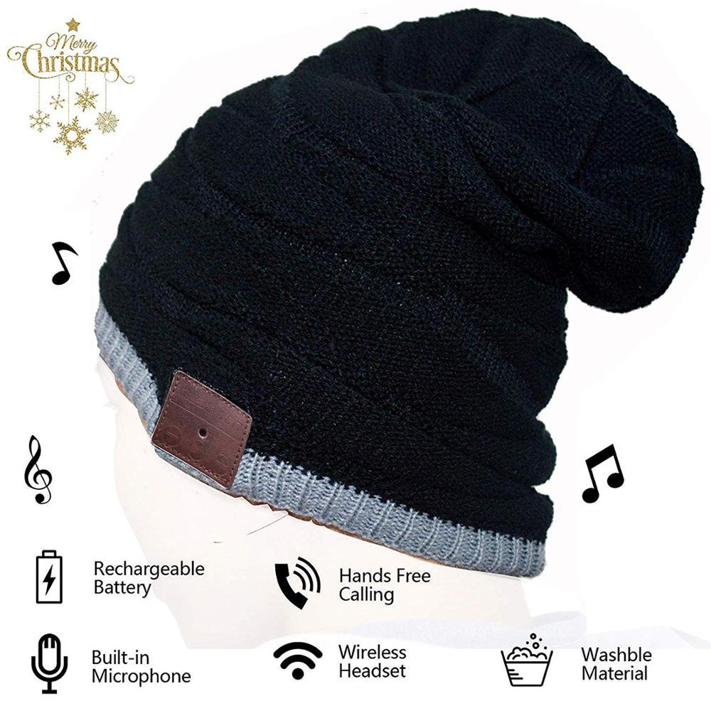 2019 Bluetooth inalámbrico V4.2 Beanie Knitted Plus terciopelo invierno música sombrero auricular Altavoz manos libres música Mp3 Magic Smart Cap