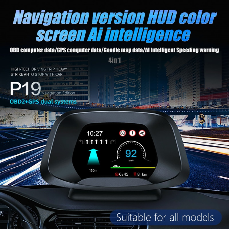 Car Head-up Display OBD 2 IN 1 Head Up Display P19 Optional Navigation On-board Computer HUD Gauge Auto Display Odometer