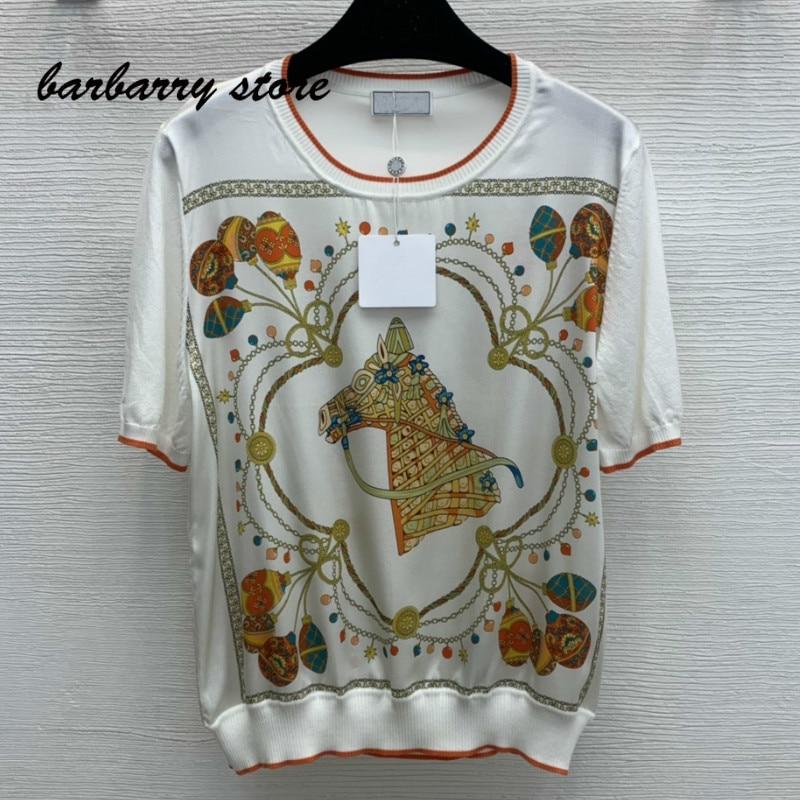 luxury design chain decoration printing fashion women's top temperament versatile knitting short sleeve casual graphic T-shirt