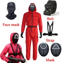 Squid Game Villain Red Jumpsuit Cosplay Costumes Round Six Npc Circle Triangle Square Mask Strap Belt Accessories Halloween