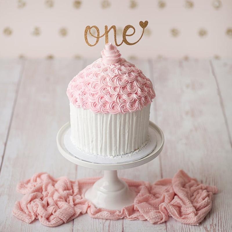 Топпер для торта на 1-й день рождения, топпер для торта, реквизит для фотосессии, первый юбилей, блестящие украшения торта, принадлежности