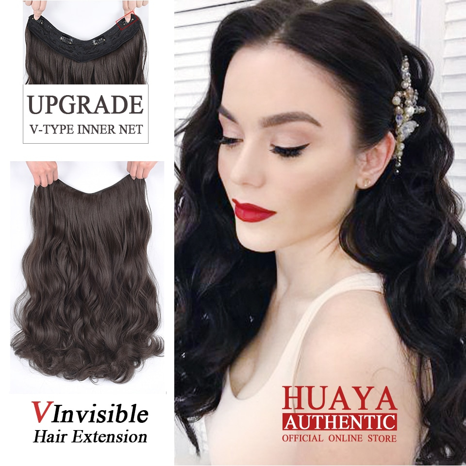Peluca HUAYA de 22 pulgadas de una sola pieza Invisible, extensión de pelo, resistente al calor, fibra sintético ondulado largo, peluca de uso diario