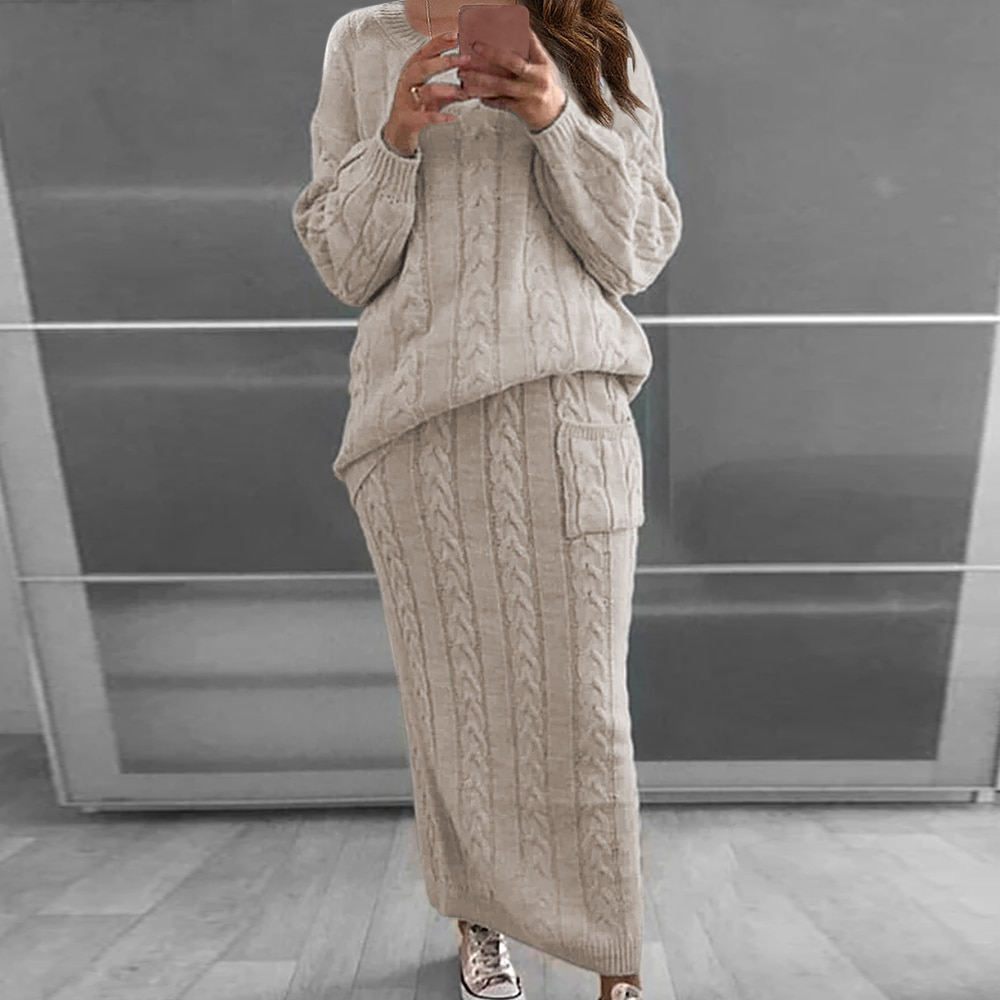 2020 Winter Women Warm Knitted Sweater 2 Pieces Set Women Solid Color Long Sleeve Pullovers Sweater & Knitted Skirts 2PCS Suits