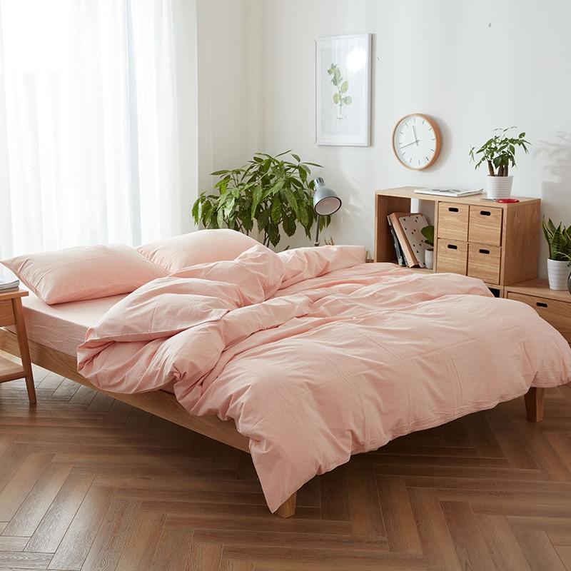 Dream NS طقم سرير لون نقي الساحرة الوردي حاف الغطاء الملك الملكة حجم 3 قطعة 100 لحاف من القطن طقم أغطية تخصيص حجم