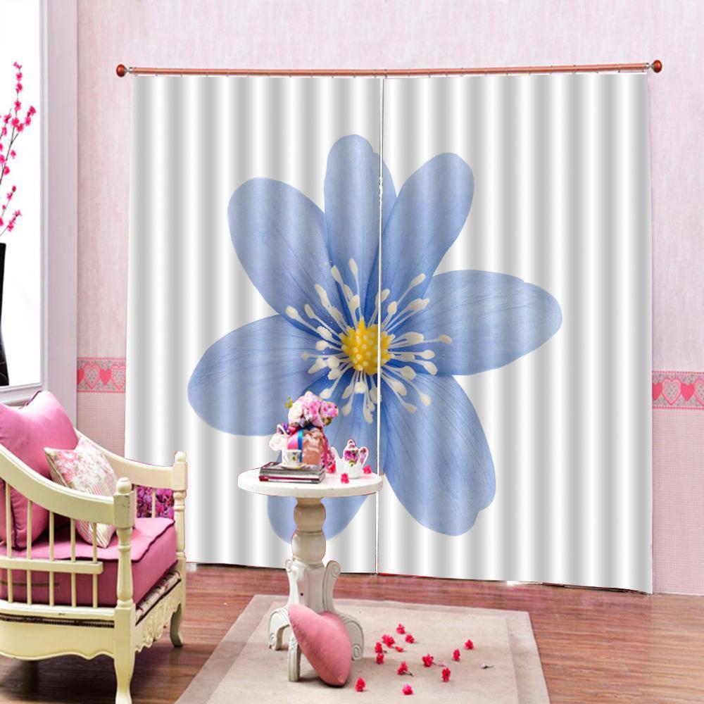 Cortina de ducha de decoración abstracta creativa para el hogar, hermosas flores azules, Diseño Digital, cortinas de tela opaca