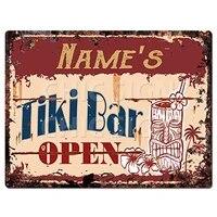names tiki bar open custom personalized tin chic sign rustic vintage style retro kitchen bar pub coffee shop decor 8x 12