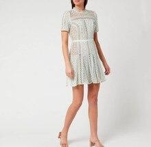 2020 New arrive Womens Mint Lace Panel Mini Dress