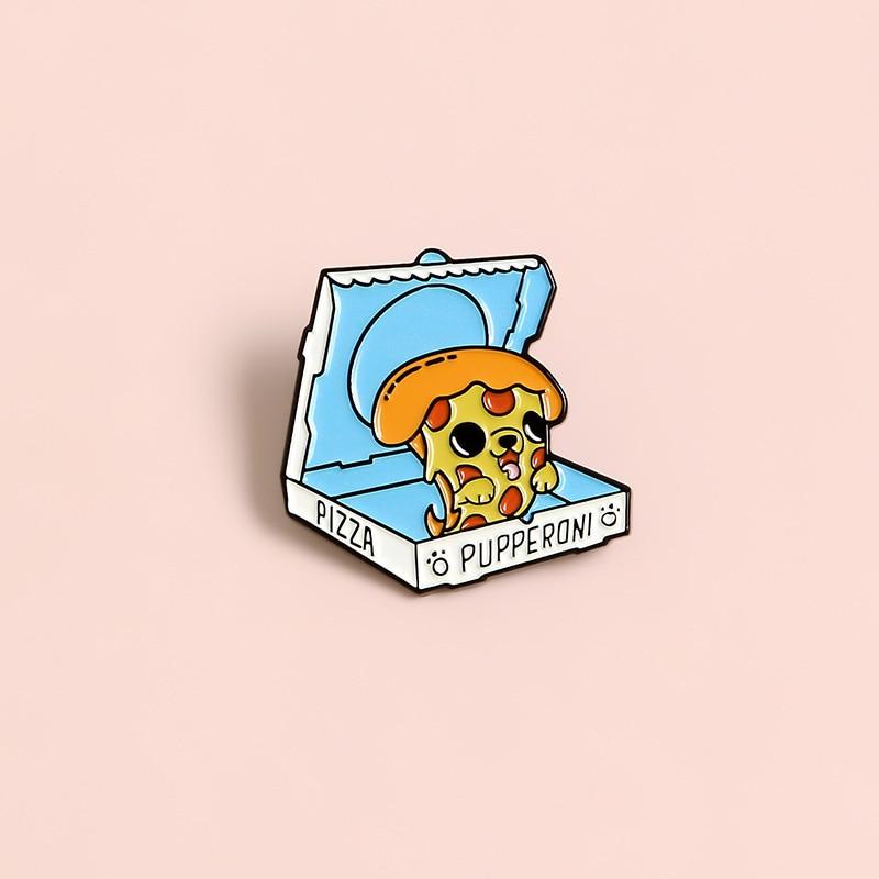 XEDZ pizza pet dog metal pin party birthday gift box cartoon animal badge shirt punk enamel jewelry lapel brooch friend gift  - buy with discount