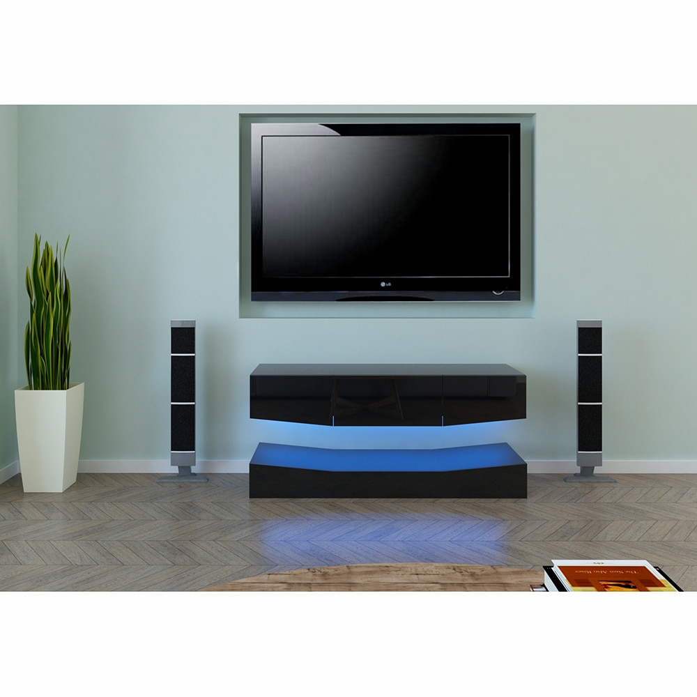 modern style cabinet cupboard matt body and glossy fronts led light living room furniture tv unit stand cabinets 【US Warehouse】120cm LED TV Cabinet TV Stand With Upper And Lower Black  tv stand living room furniture
