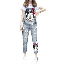 Printemps automne femmes dessin animé impression Denim Jeans fleur perle patchs déchiré femme combinaisons barboteuses salopette mono mujer corps