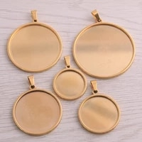5pcs gold stainless steel round 20 40mm cabochon base settings diy blank pendant trays for jewellery making