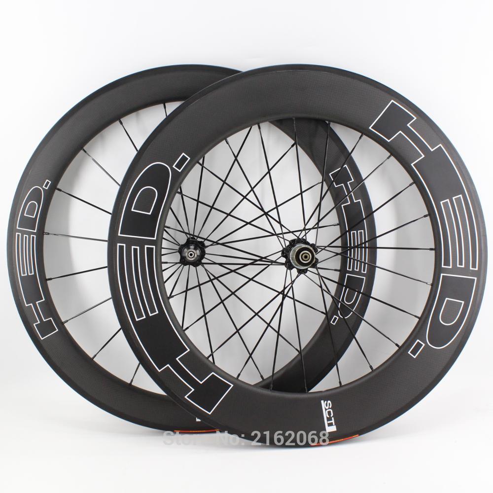 جديد أسود 700C الجبهة 60 مللي متر + الخلفية 88 مللي متر الطريق الدراجة ماتي 3K كامل ألياف الكربون دراجة العجلات فاصل الكربون الحافات أنبوبي السفين...