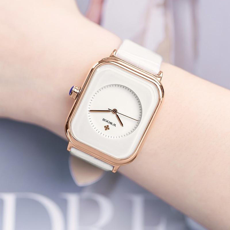 Fashion Women Watches 2021 New WWOOR Brand White Leather Rectangle Minimalist Watch Ladies Quartz Dress Wrist Watch Montre Femme
