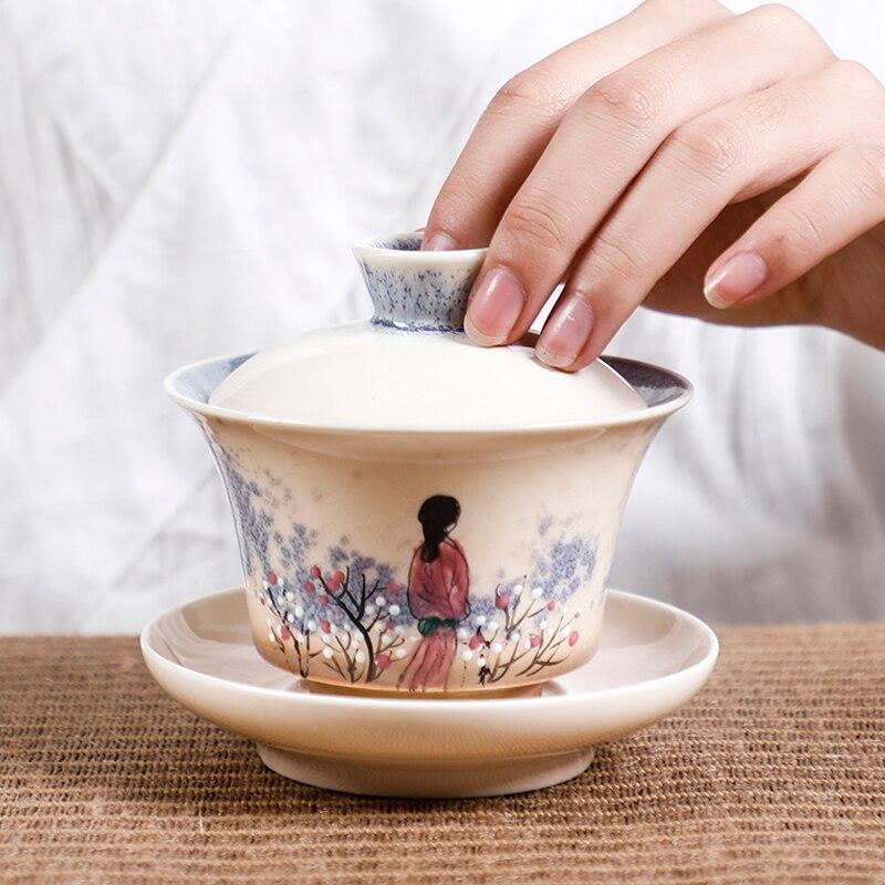 جينغدتشن-وعاء شاي سيراميك مصنوع يدويًا ، 130 مللي ، طقم شاي عتيق ، أكواب شرب ، ديكور صيني ، Gaiwan ، هدية يدوية