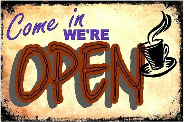 Vintage estamos abierto de Metal signo 8x12 pulgadas Retro Cocina Oficina Bar...
