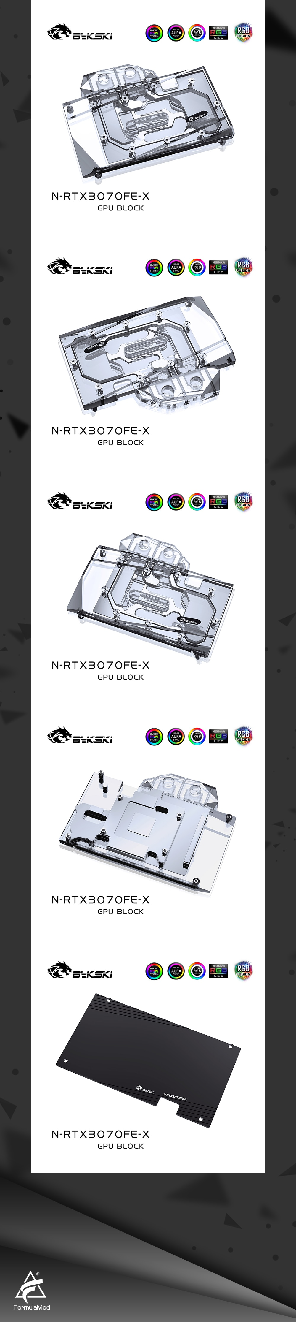 Bykski 3070 GPU Water Cooling Block For NVIDIA Founders RTX 3070 3060ti, Graphics Card Liquid Cooler System, N-RTX3070FE-X