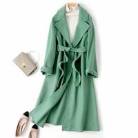 double sided wool coat women clothes spring autumn wool jacket korean long coat black overcoat abrigos mujer elegante 1258 j6080