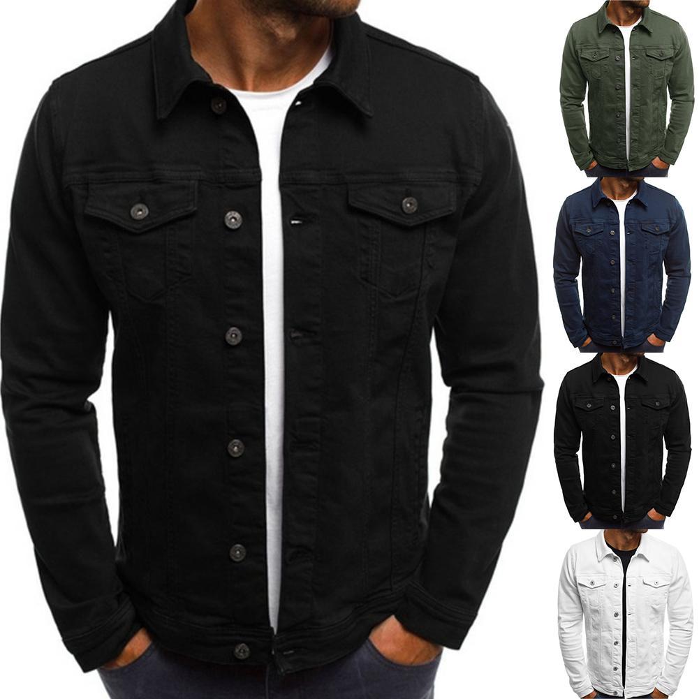 2019 nova moda dos homens jaquetas e casacos cor sólida manga longa botão para baixo lapela jaquetas multi bolsos demin casaco