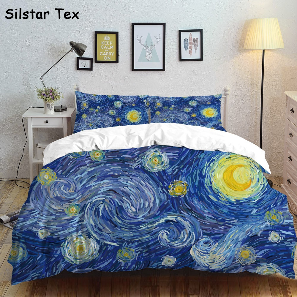 Silstar Tex Van Gogh Quilt Set Bettbezug Starry Sky Malerei Bettlaken Sets Kissen Abdeckung Bett Abdeckung Krippe Bettwäsche tagesdecken