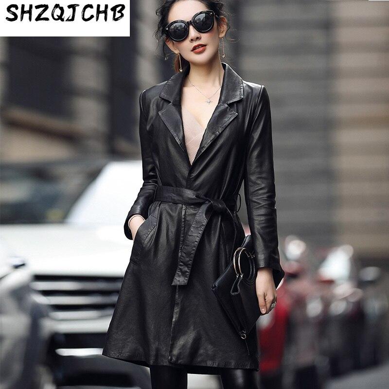 JCHB 2021 الخريف والشتاء سميكة جديد معطف جلد طبيعي المرأة منتصف طول جلد الغنم سترة واقية الكورية ضئيلة معطف جلد