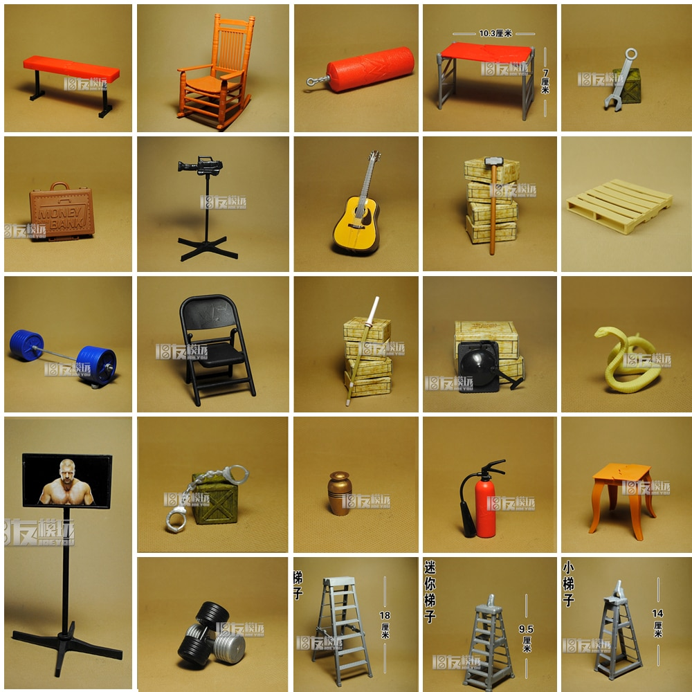 Ring Wrestler Action Figure Accessories Sandbag Chair Hammer Ladder Barbell Military Action Figures Finished Product Toys
