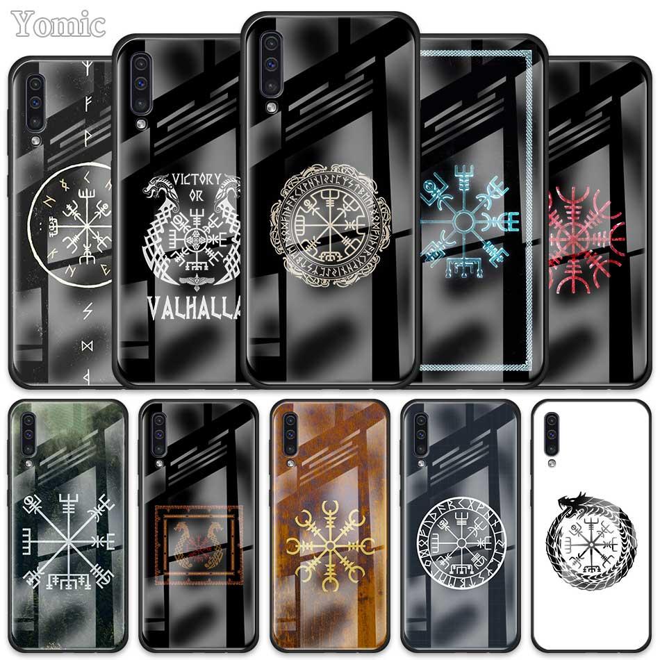 Caja de cristal para Samsung Galaxy A50 A51 A70 A71 A01 A10 A11 A20 A21 A30 A31 A40 A41 A81 M21 M31 M51 Viking Vegvisir colgante Odin nórdicos