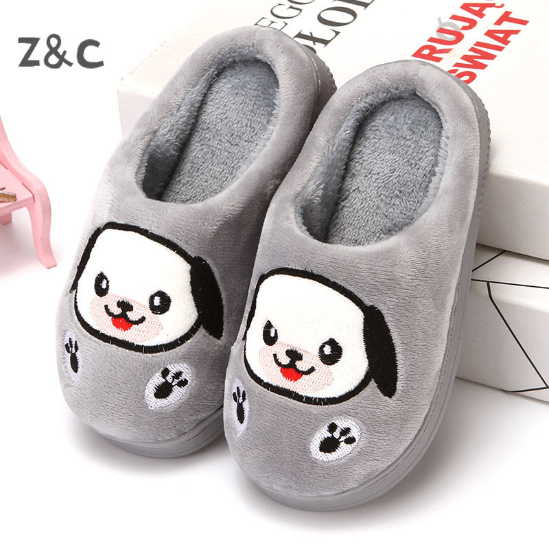 Children's Slippers Autumn Winter Cotton Boys and Girls Baby Toddler Doggy Shoes Fur Slides for Kids 2020 New Style Fashion