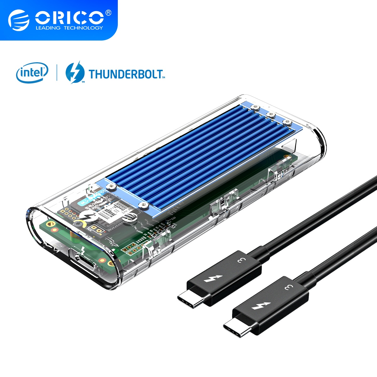 ORICO Thunderbolt 3 M.2 NVME SSD Case 40Gbps USB C Transparent Hard Drive Enclosure Up to 2TB M2 Case With Thunderbolt 3 Cable