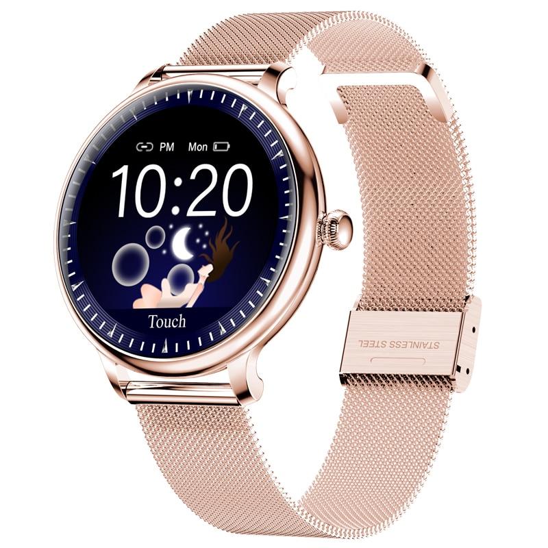 Reloj inteligente NY12 elegante para mujer, pantalla redonda, reloj inteligente para chica, monitor de ritmo cardíaco compatible con Android e IOS