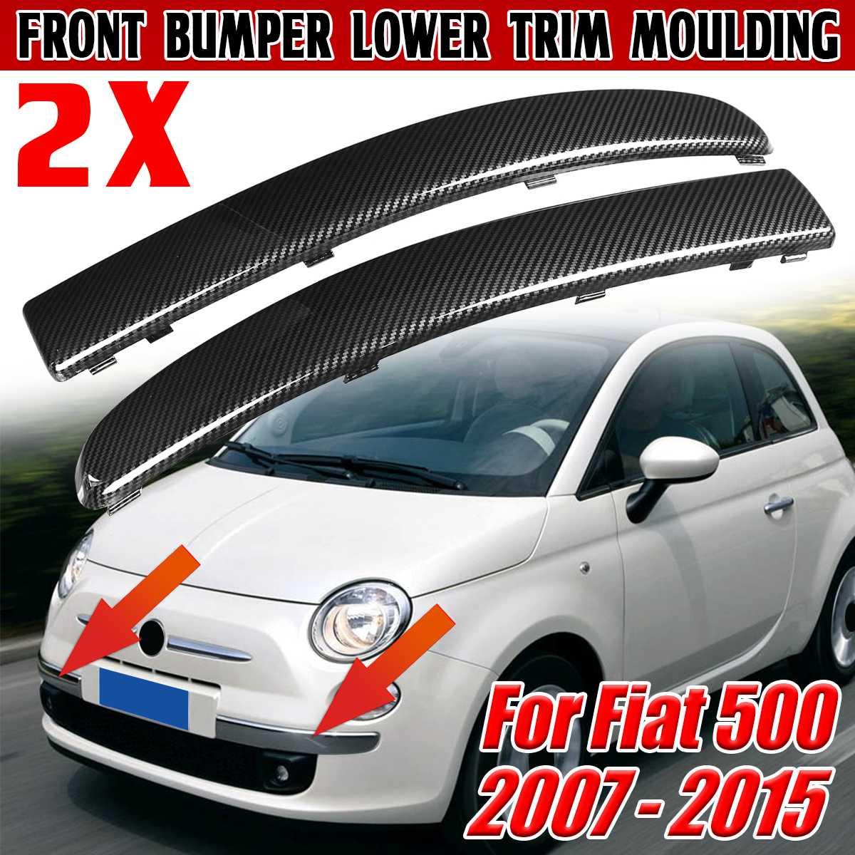 Пара, молдинги из углеродного волокна для переднего бампера автомобиля Fiat 500 2007-2015 735455056 735455057
