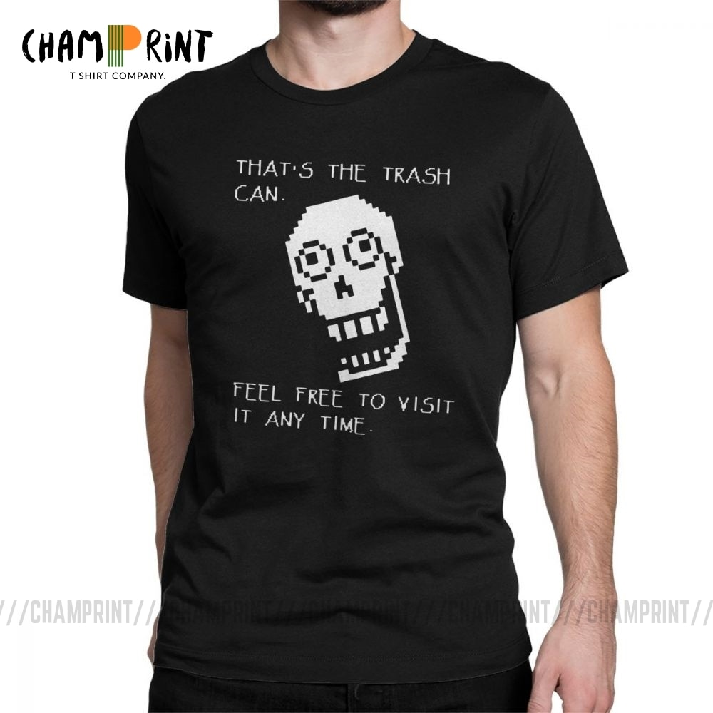 Undertale divertido T camisas hombres papiro basura Tops de manga corta Camiseta impresa de puro algodón Camiseta de cuello redondo