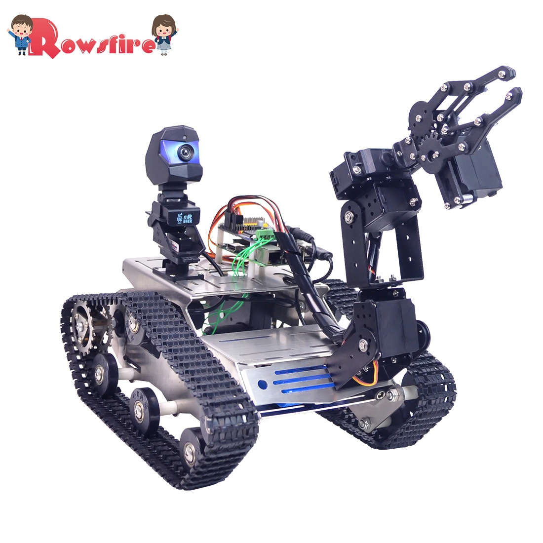 Programmable TH WiFi FPV Tank Robot Car Kit with Arm for Arduino MEGA - Standard Version/Avoidance V