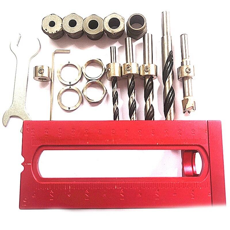 1 Set madera agujero de bolsillo tornillo plantilla juego de brocas cruz oblicua tornillo de cabeza plana perforadora Gabinete de la cama tornillo perforadora localizador