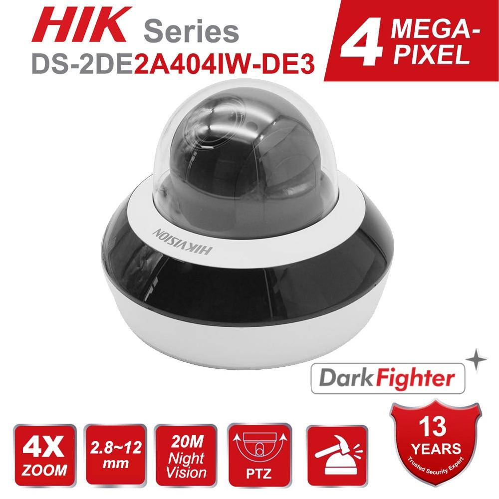 Hikvision PTZ IP كاميرا H.265 + DS-2DE2A404IW-DE3 DarkFighter 4MP 4X التكبير 2.8-12 مللي متر CCTV كاميرا المدمج في هيئة التصنيع العسكري الصوت 20m IR 256GB