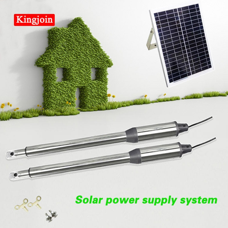 KINGJOIN Solar automatic swing gate opener motor dual arm opener operator linear actuators with remote controls Optional automatic swing door gate opener electric double arm opener operator linear actuator with remote control warning light optional
