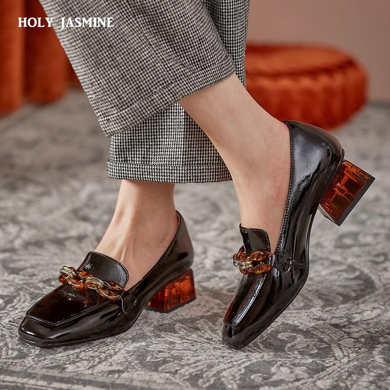Лаконичные женские туфли на высоком каблуке; Женские туфли из натуральной кожи с круглым носком; Новинка 2021 года; Женская обувь для вечерино...