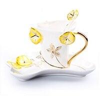 Xícara de Chá Colher de Três Caixa de Presente ao ar Conjunto de Utensílios de Mesa Cerâmica Café Preto Esmalte Porcelana Osso China Manhã Glória Pires Peças Livre