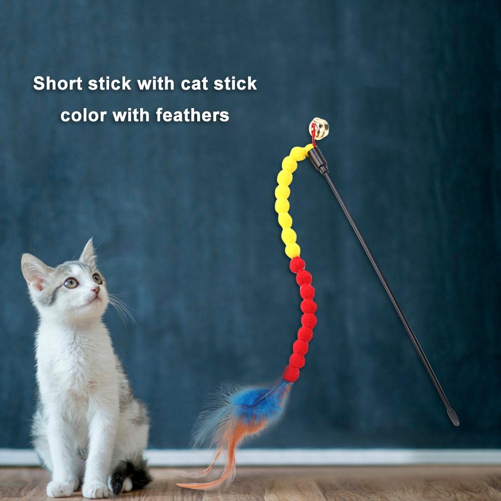 Дразнилка для котенка игрушка кошек игрушечная палочка с красочными перьями