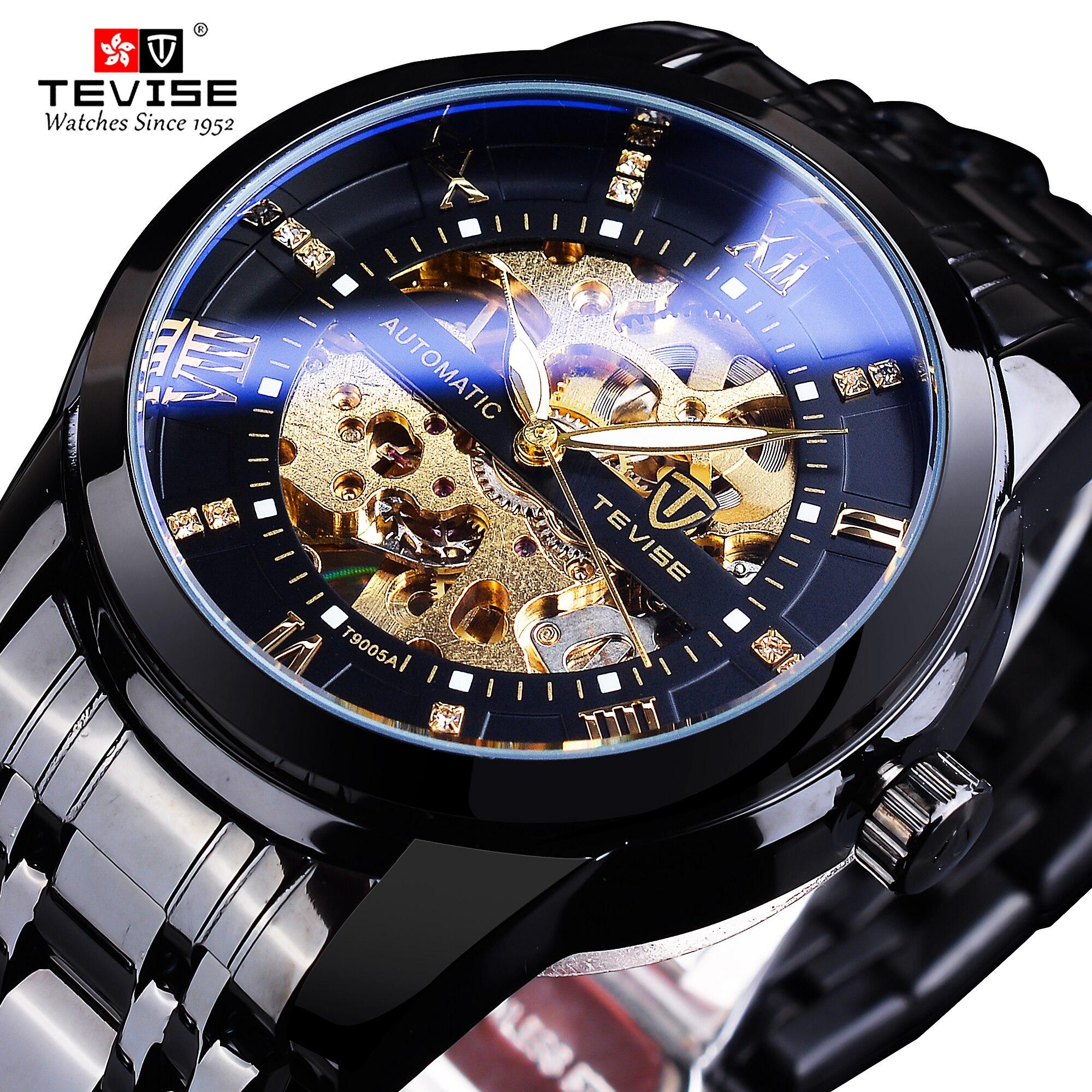 TEVISE-ساعة يد أنالوج للرجال ، ذهبية ، شفافة ، شاشة عرض ، هيكل عظمي ، أوتوماتيكية ، مقاومة للماء ، ذكر