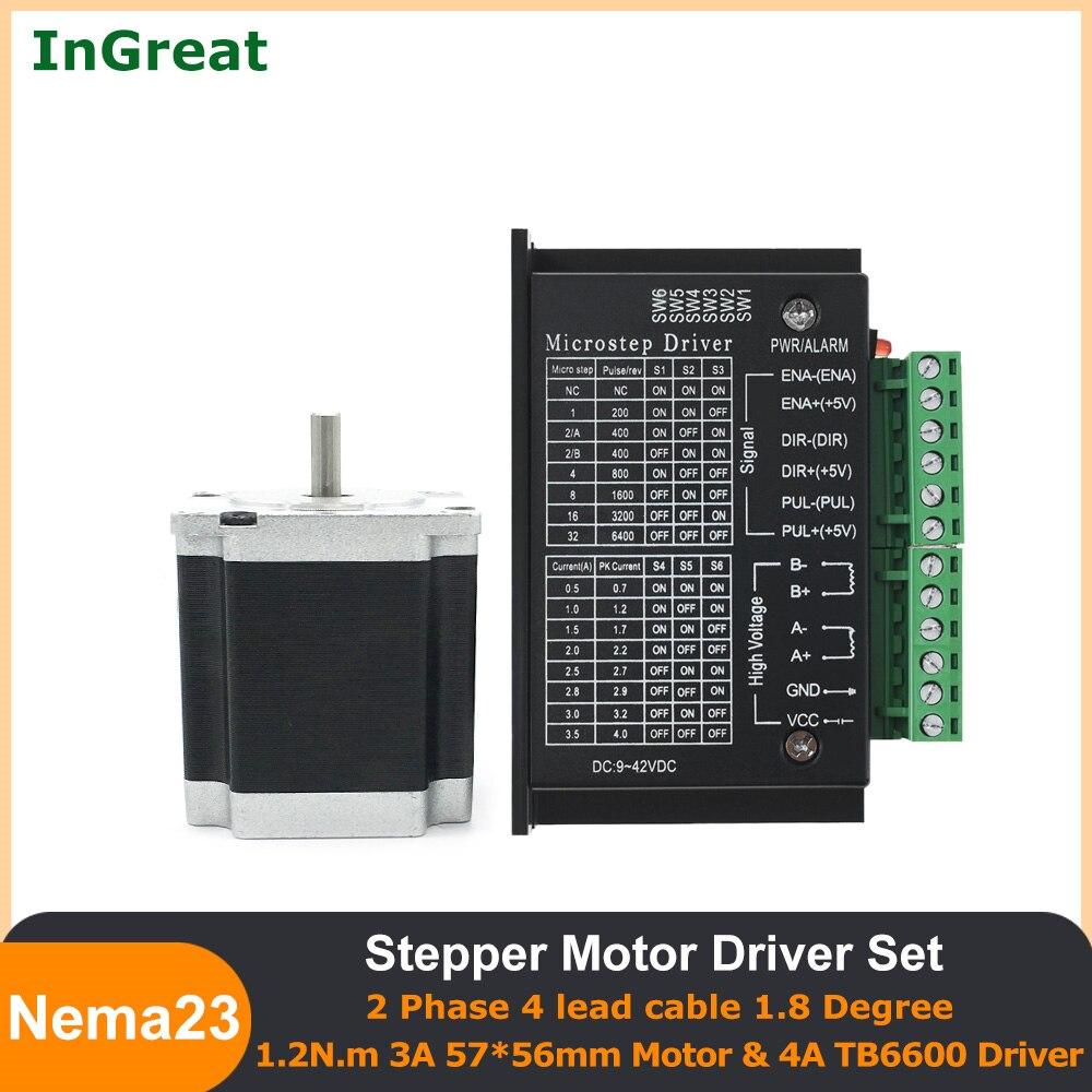 57*56 مللي متر Nema23 محرك متدرج 2 المرحلة 3A 1.2Nm 1.8 درجة مع TB6600 سائق 4A 32 تقسيم لآلة الليزر 3D الطباعة