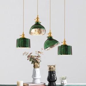 Japanese glass pendant light Minimalist Lighting Creative Personality Decoration Green pendant light e27 For dining table lamp